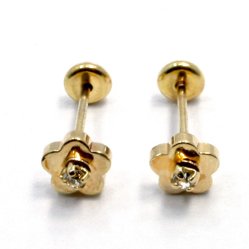 Gold 18K GF Earrings Kids Girl Baby High Security CZ White Crystal