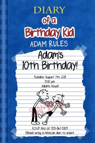 Custom Birthday Party Invitations Diary of A Wimpy Kid