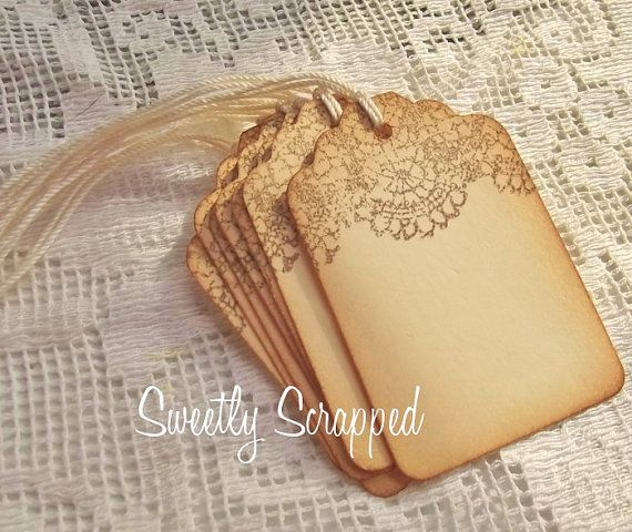 Lace Topped Gift Tags Chocolate Brown Favor Tags Packaging Lacy
