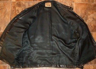 Vintage 60s Langhorne Mens Black Leather Cafe Racer Motorcycle Jacket
