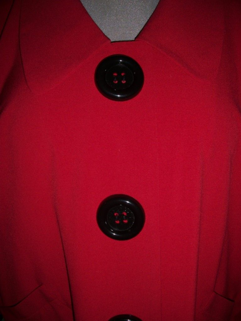 Happy Valentines Day Retro Style Red Big Buttons Swing Coat Sz 24W