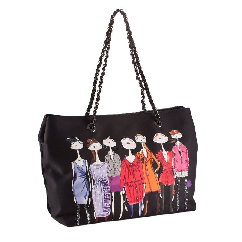 Love Moschino Woman Shoulder Bag Satin Black Girl Print WLL0000 New