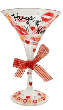 Hand Painted Large Hugs Kisses Valentines Martini Glass New