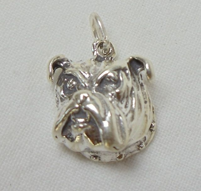 Mascot Sterling Silver Bulldog Face Charm Pendant PD16