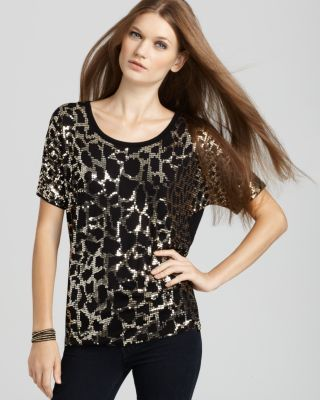 Michael Kors New Black Python Sequined Scoop Neck Pullover Top Shirt