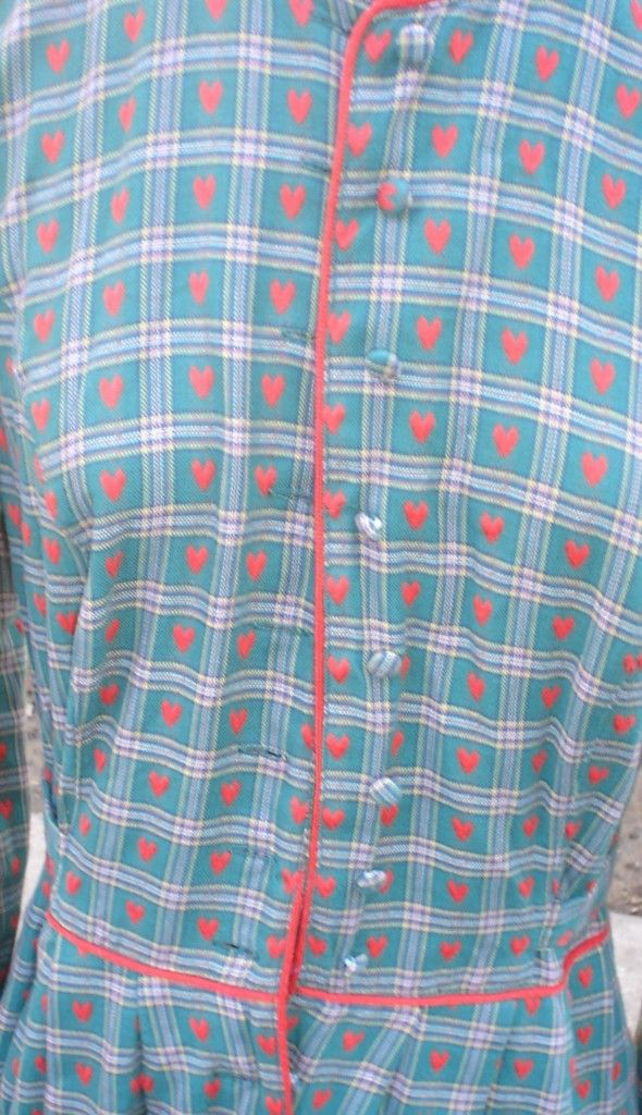 Meico Landhaus Green Plaid w Red Hearts Cotton Dress S