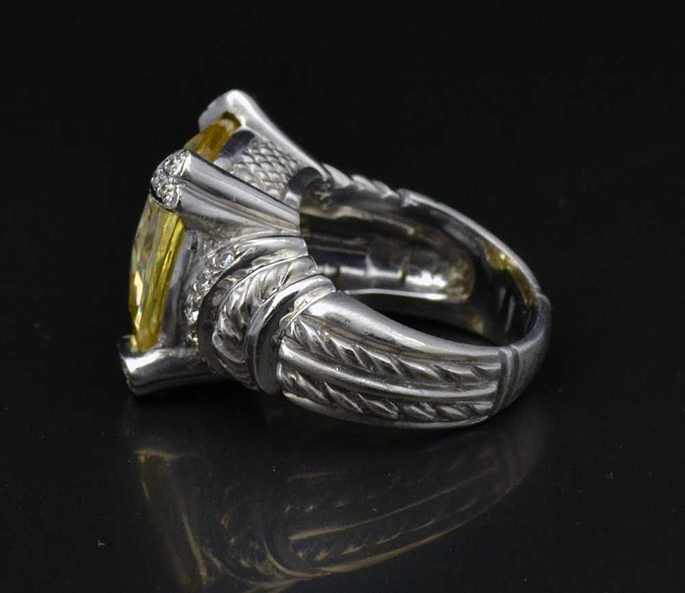 Judith Ripka 18K Solid White Gold Diamond Large Citrine Pave Size 6