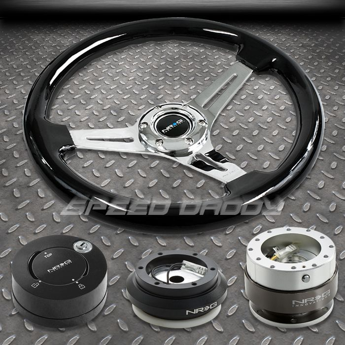 NRG Black Steering Wheel Hub Silver Quick Release MB Lock Kit 92 95