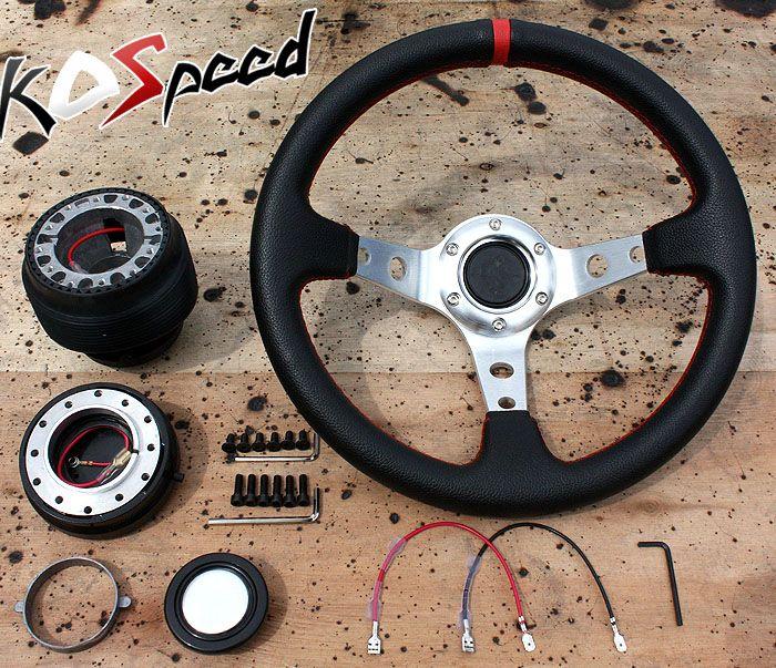 Steering Wheel Hub Quick Release 88 91 Civic CRX 320mm Black Silver 3
