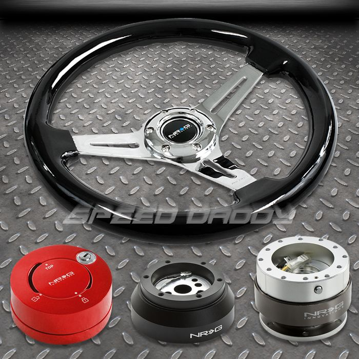 NRG Black Steering Wheel Hub Silver Quick Release Red Lock Kit 69 02