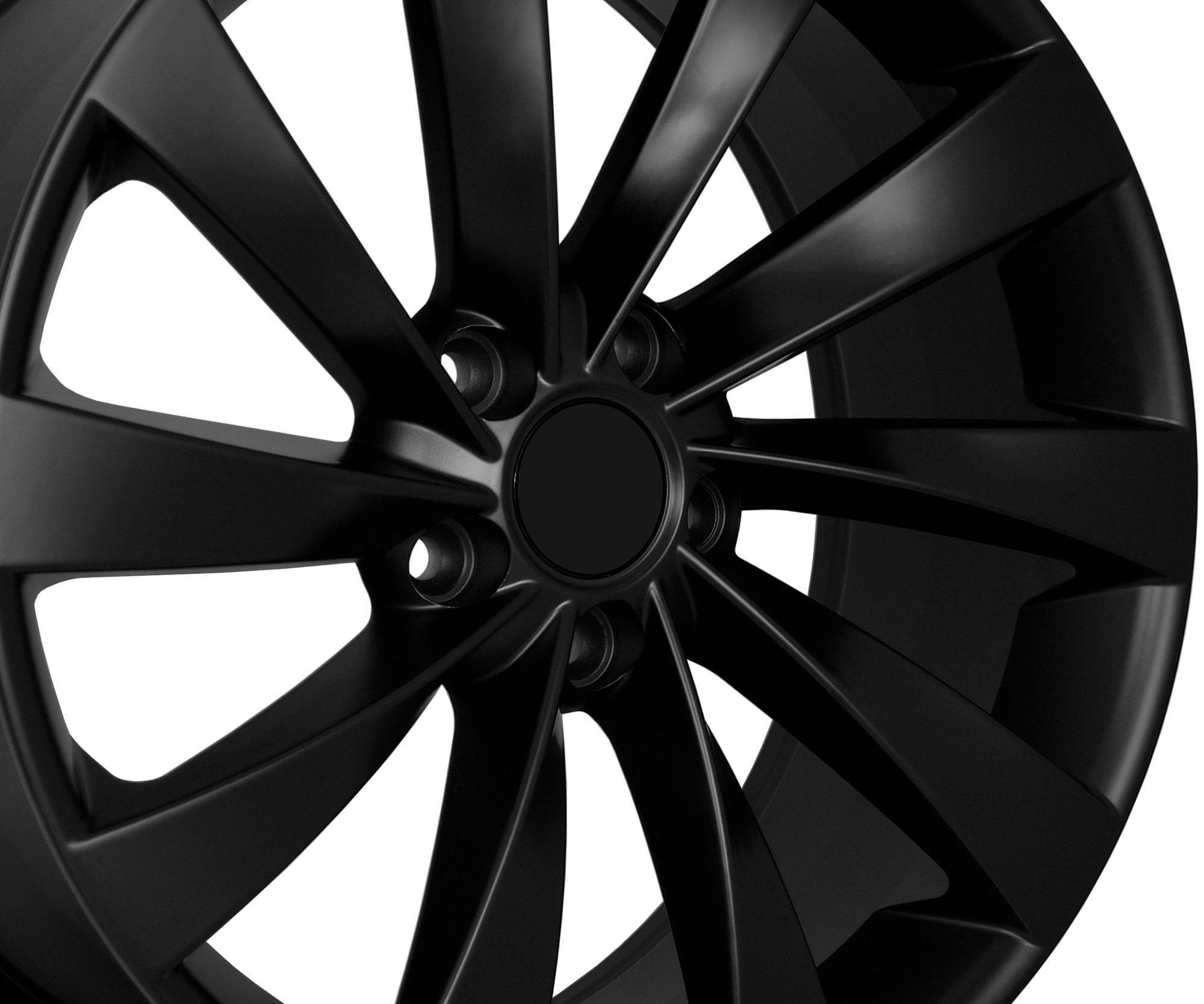 18 VW Turbine Style Matte Black Wheels Rims Fit VW Golf Rabbit GTI