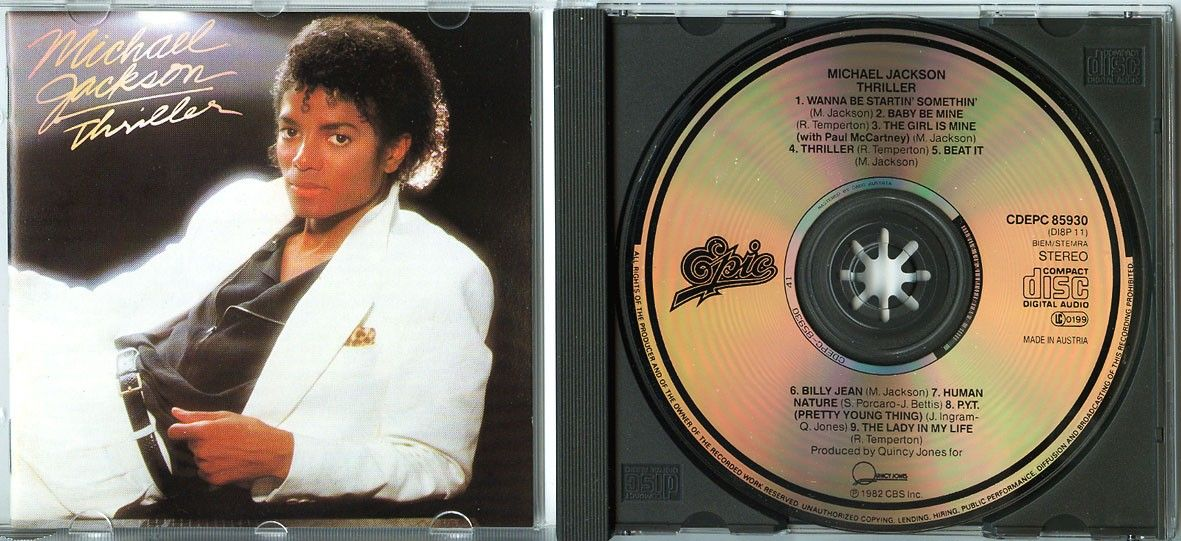 MICHAEL JACKSON Thriller 1982 CD 1pr, w NEU Beat It NO REMASTER Paul