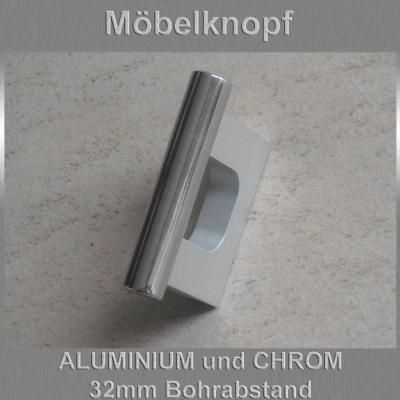 Möbelknopf Möbelgriff Schubladengriff Aluminium Chrom Glänzend 32mm