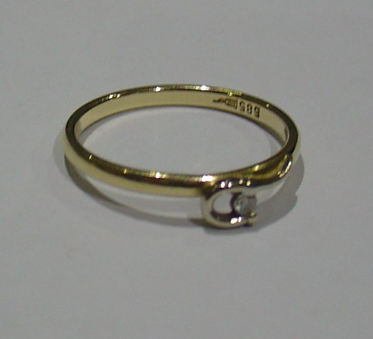 585 Weißgold/ Gelbgold Ring m. Brillant Brillantring 0,03ct TWVSI