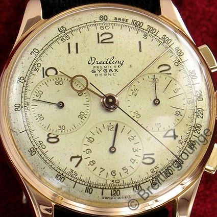 Breitling Gygax Chronograph 734 Rot Gold 18 Kt Premier Tricompax