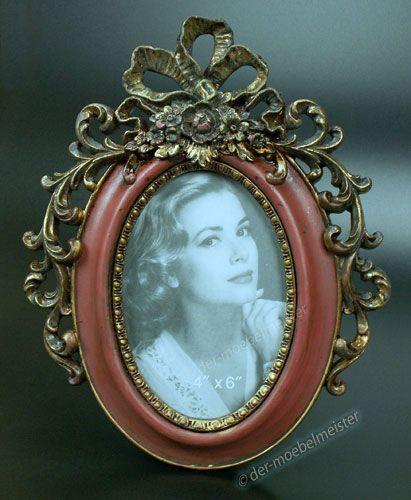 LOUIS XVI Bilderrahmen Fotorahmen Bild Oval Rahmen Rot Gold Holz Deko